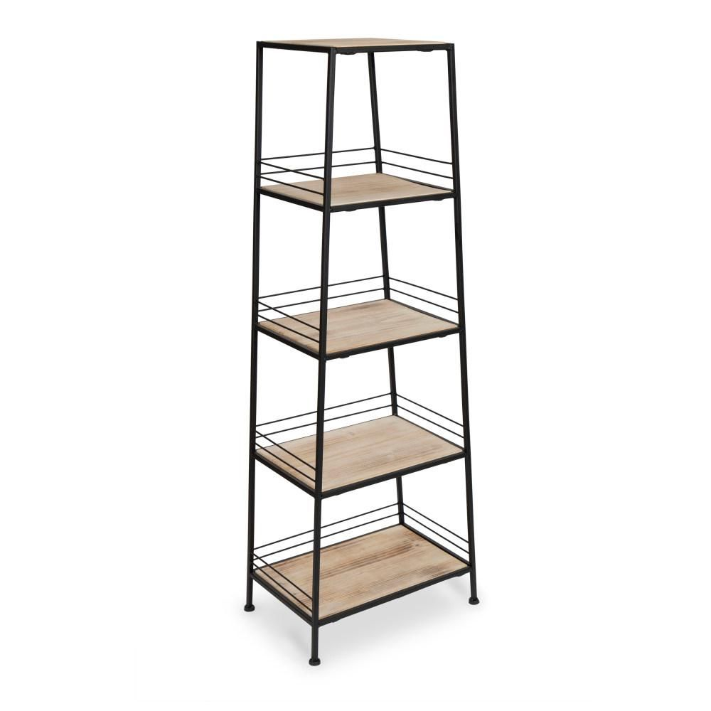 Kate And Laurel Urbane 10 In X 16 In X 45 In Natural Wood Metal Decorative Shelving Unit 212830 The Home Depot Decorative Shelving Solid Wood Shelves Free Standing Shelves
