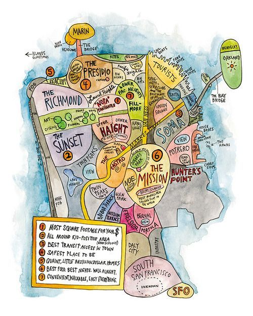Sf Hoods By Wendy Macnaughton San Francisco Map San Francisco Neighborhoods Illustrated Map It may be helpful to buy a good map of boston so that you can find your way around the city. san francisco map