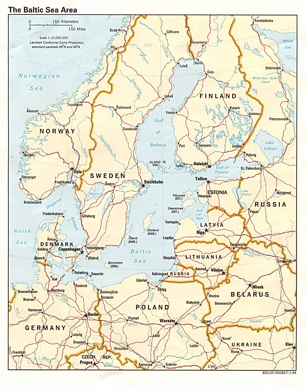 Balkan Sea States Map. Estonia-Latvia-Lithuania-Denmark ...