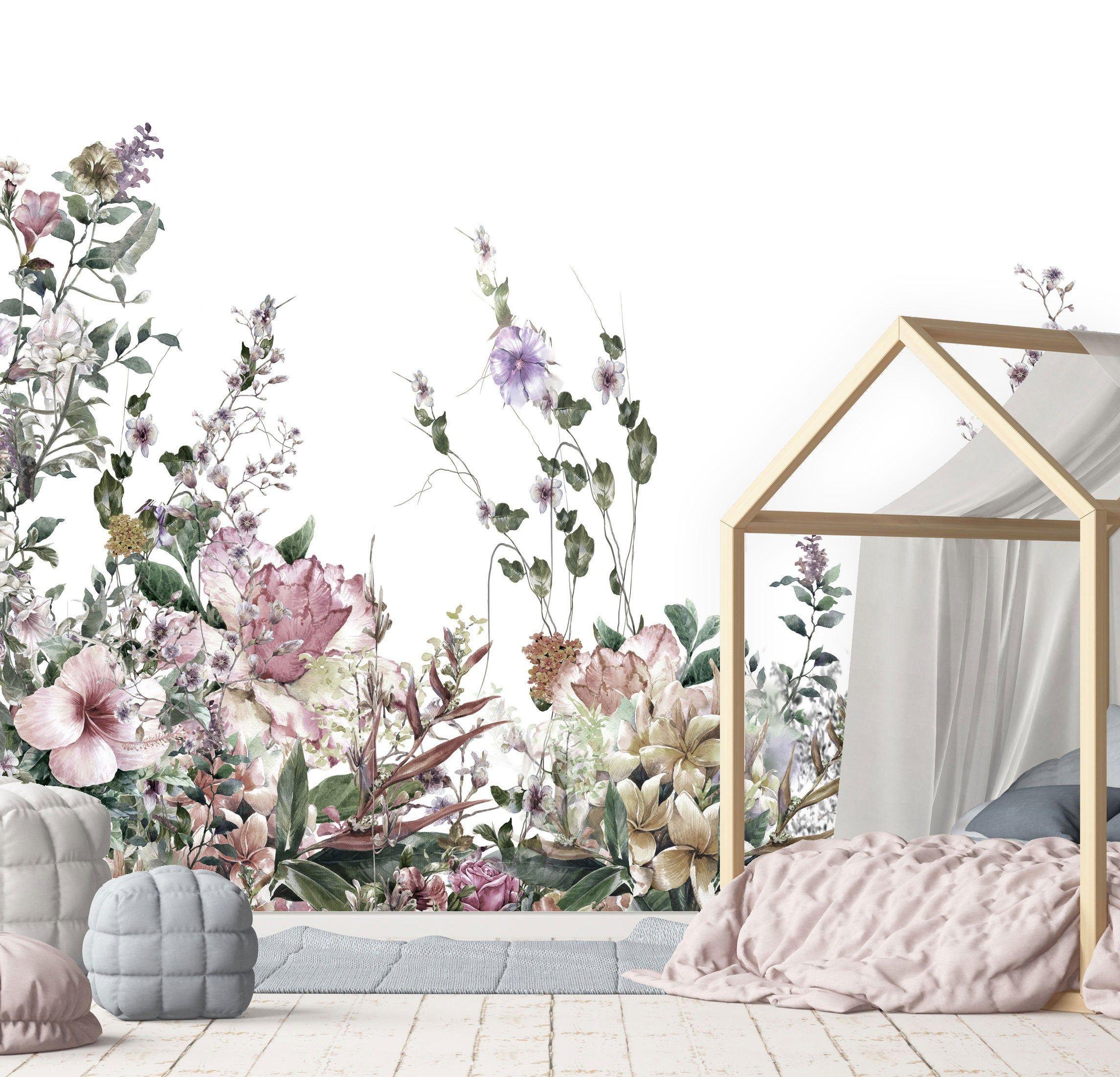 Blossom Spring Garden Wall Mural, Floral Wallpaper, Shabby ...
