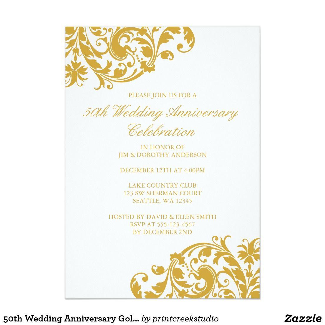 50th Wedding Anniversary Gold Swirl Flourish Card | anniversary ...