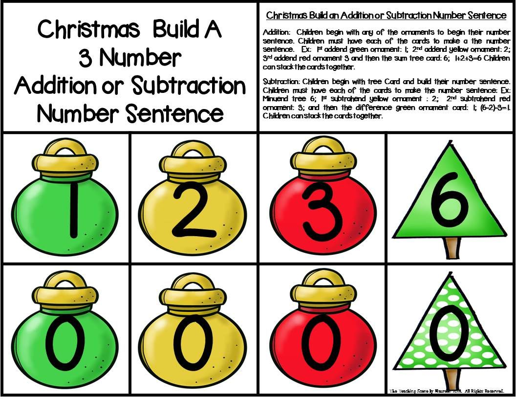 Christmas Build 3 Addend Addition Amp Subtraction Number
