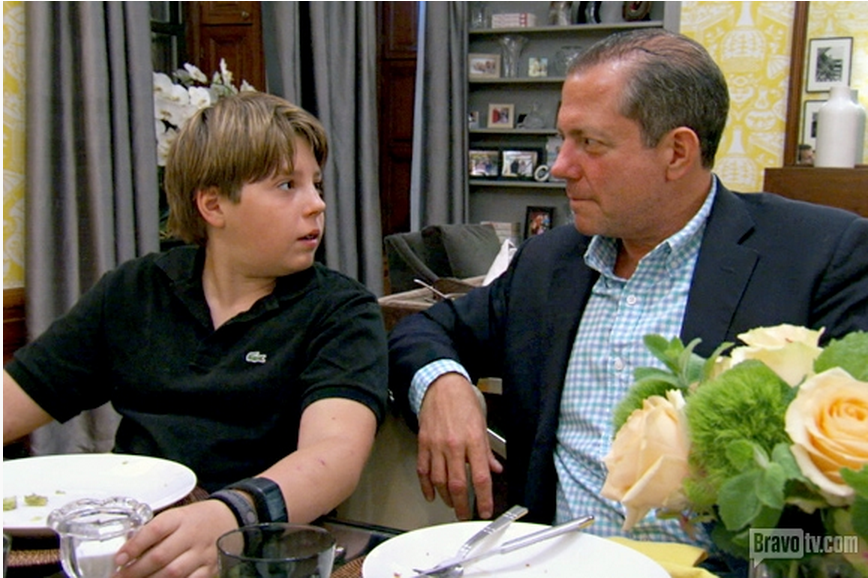 Daddy Harry visits son Harrison for fajita night before he goes away to co-ed sleepaway camp... Read more at: http://www.allaboutthetea.com/2014/04/30/real-housewives-of-new-york-recap-unforgivable-debt-episode-8/