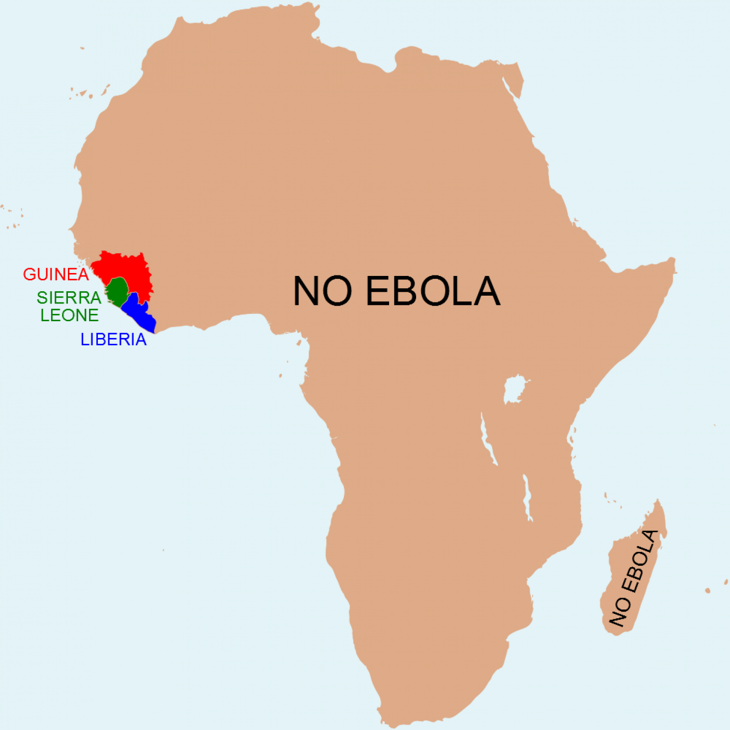 Map The Africa without Ebola Africa Politics and Current events