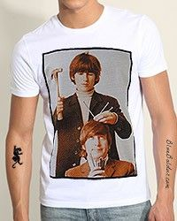 The HITTING THE NAIL OF THE HEAD T-shirt with John Lennon and George Harrison.