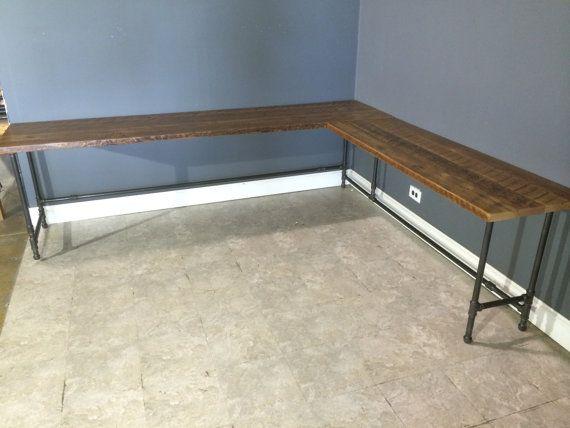 Reclaimed urban wood l shaped desk made by urbanwoodfurnishings l