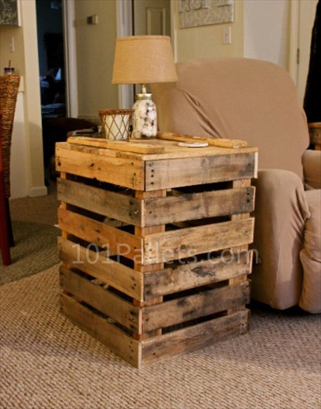 Hand crafted pallet side table good for in a man cave for Great pallet ideas