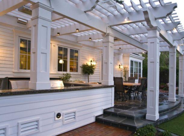 Hampton style outdoor bbq area exteriors pinterest for Outdoor barbecue area design