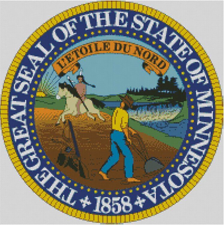 Minnesota Cross stitch chart Badge Flag Emblem pattern Seal State USA