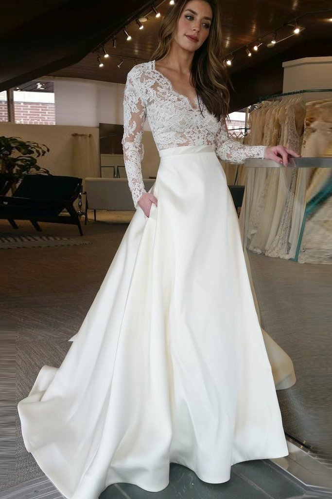 0dea7b2667d Long Sleeve Wedding Dresses See Through Lace Top Ivory Wedding Dresses -  SheerGirl