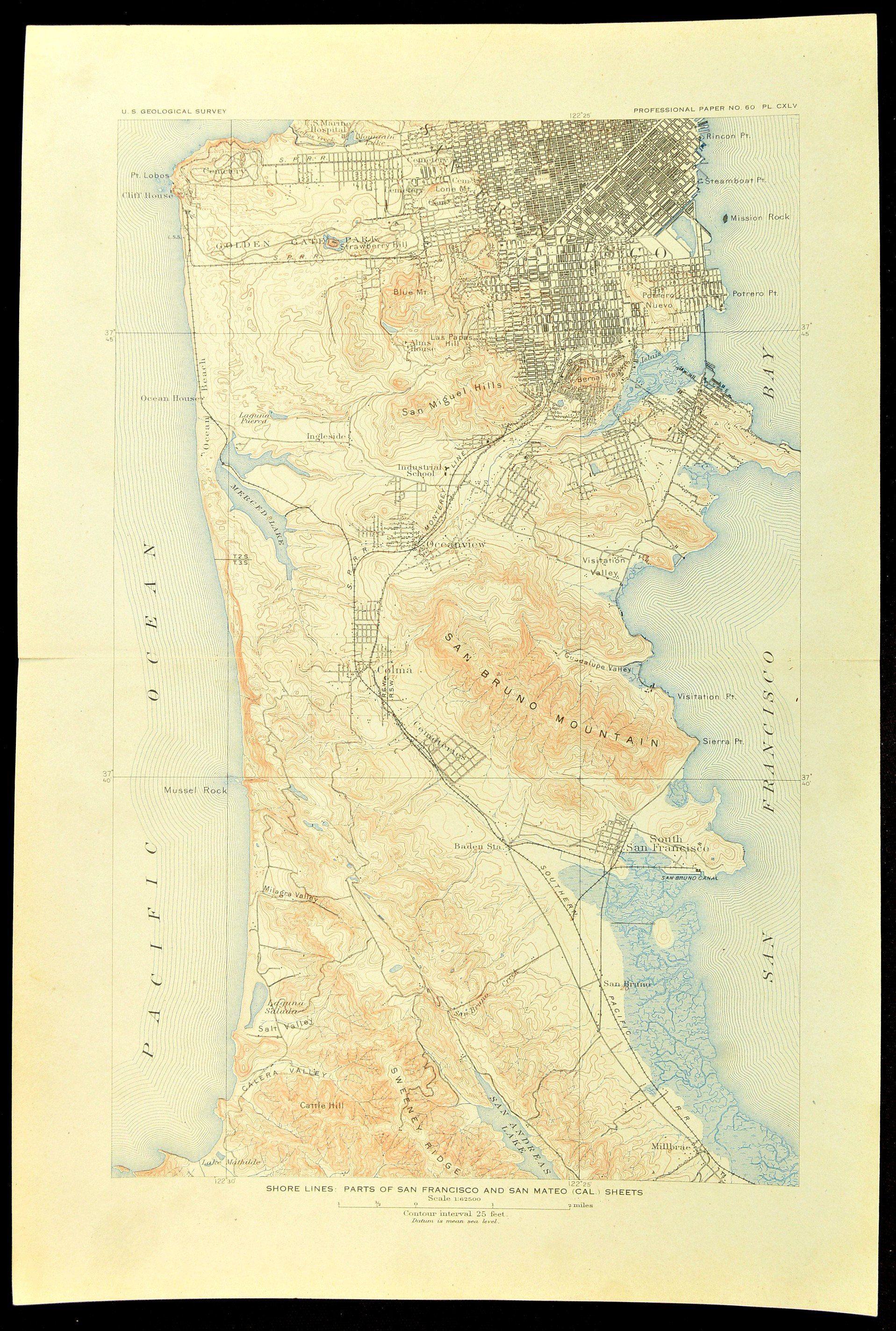 South San Francisco Map of San Bruno Topographic Map Print ... on redwood city map, clovis map, escondido village map, pleasanton map, north san francisco map, port of san francisco map, berkeley map, south san francisco ca map, cathedral city map, san pablo map, lafayette map, porterville map, market st san francisco map,
