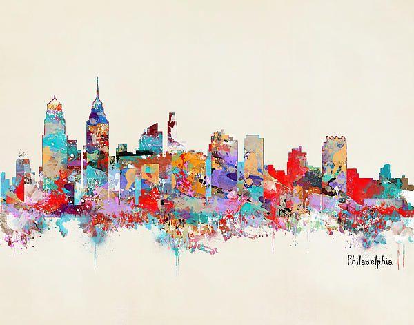 Philadelphia Skyline By Bri Buckley Philadelphia Skyline Skyline Painting Framed Art Prints