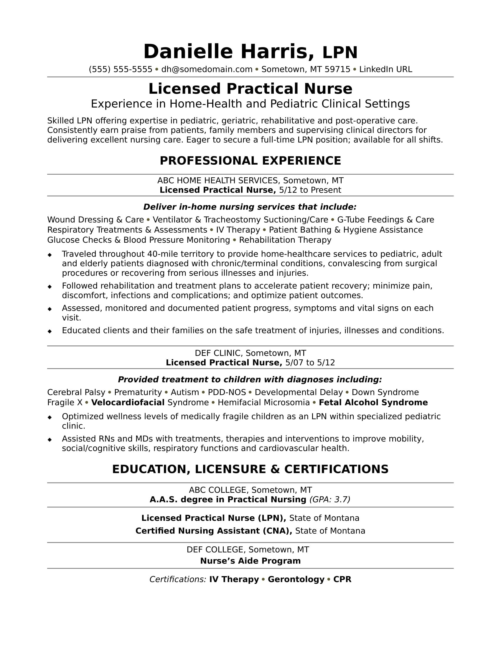 Need To Revive Your Licensed Practical Nurse Resume Check Out This Sample Lpn Resume For A For Inspiration Nursing Resume Examples New Grad Nursing Resume Nursing Resume Template