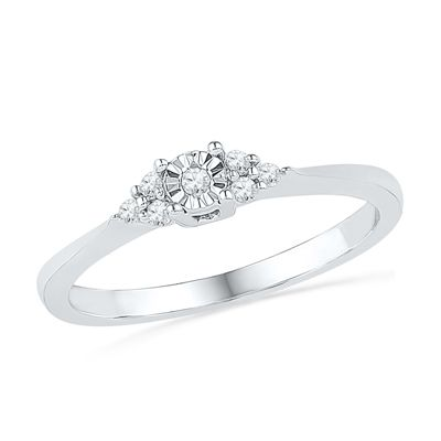 Zales 1/10 CT. T.w. Diamond Frame Bypass Promise Ring in 10K White Gold 2AwnrbfN