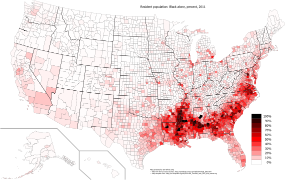 Map of the US showing the black population as a percentage