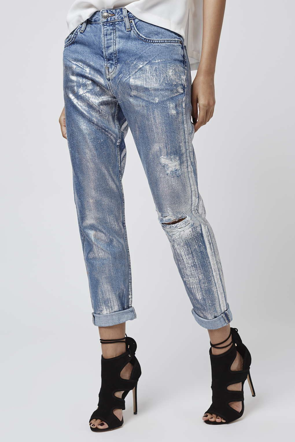 f39703f19 Denim just got a SERIOUS update with Metallic coating in a low slung  boyfriend fit. No accessories needed.  Topshop