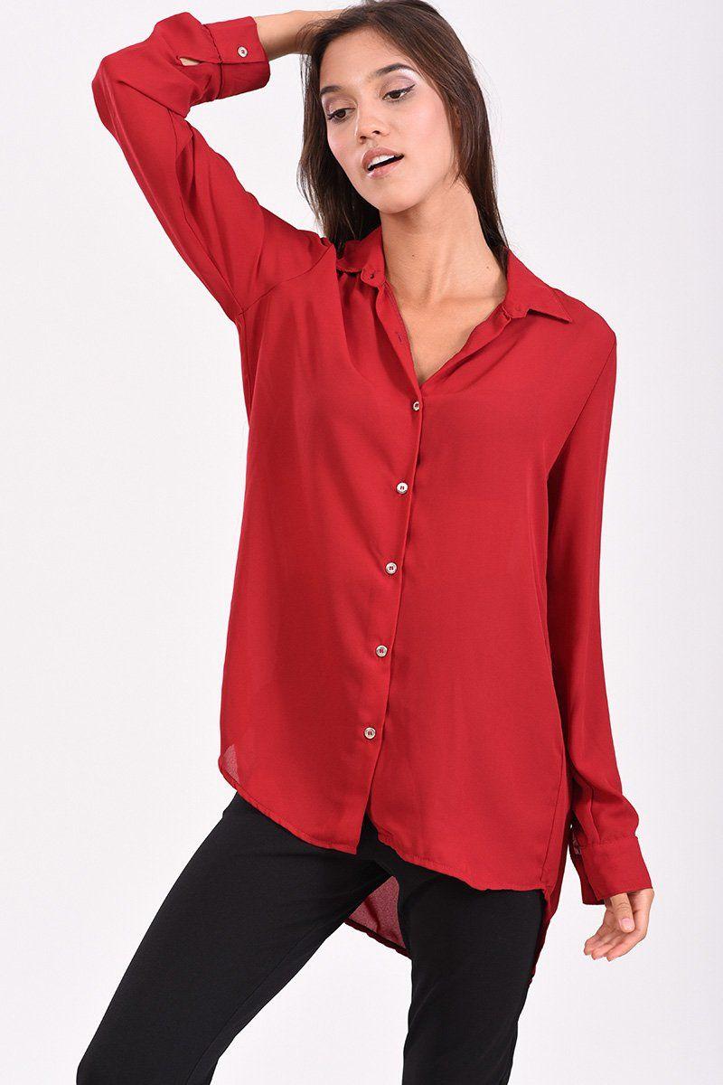 Γυναικείο πουκάμισο ασύμμετρο, κόκκινο με μακρύ μανίκι