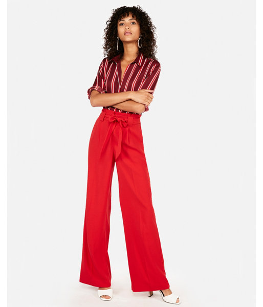 9c4872c6ee Express High Waisted Sash Waist Wide Leg Pant   Products   Casual ...