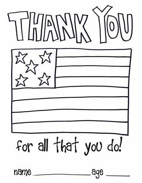 Make A Thank You Card Here S A Card Template For Children Veterans Day Coloring Page Veterans Day Activities Service Projects For Kids