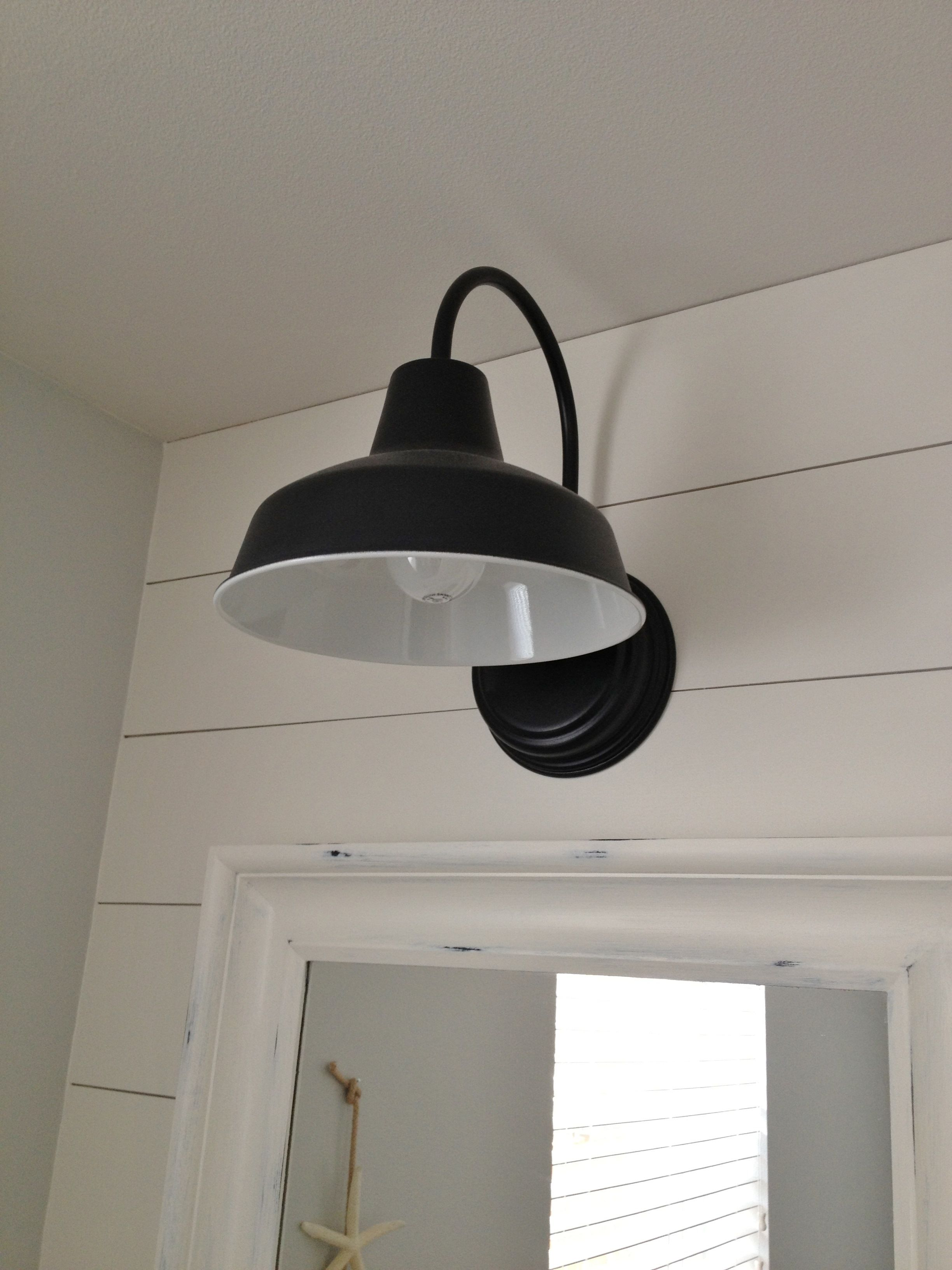 Barn Wall Sconce Lends Farmhouse Look to Powder Room Remake