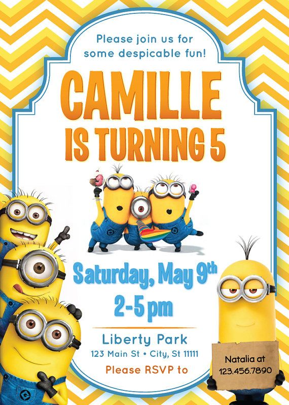 DESPICABLE ME MINIONS Invitation Printable Kids By RedHeadInvites Minion Birthday Invitations