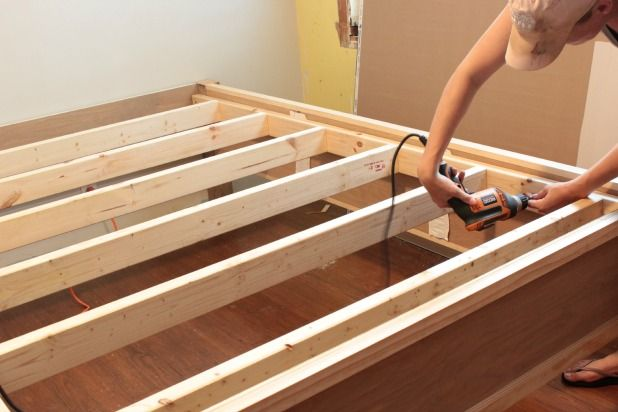 How To Make A Wood Bed Frame The Space Between Diy Bed Frame