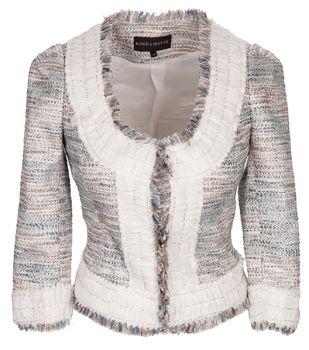 Elegante Jacke in Türkis und Weiß von Kinga Mathe. Die