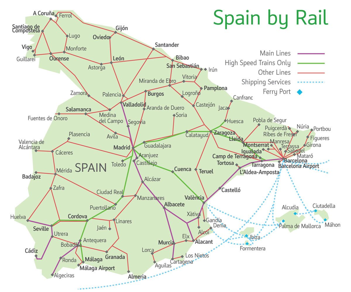 Map Of Portugal And Spain Detailed.Spain Rail Map Spain In 2019 Seville Spain Backpacking Spain