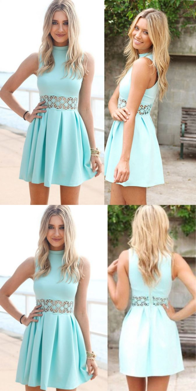 Customized nice short alineprincess prom dresses blue sleeveless