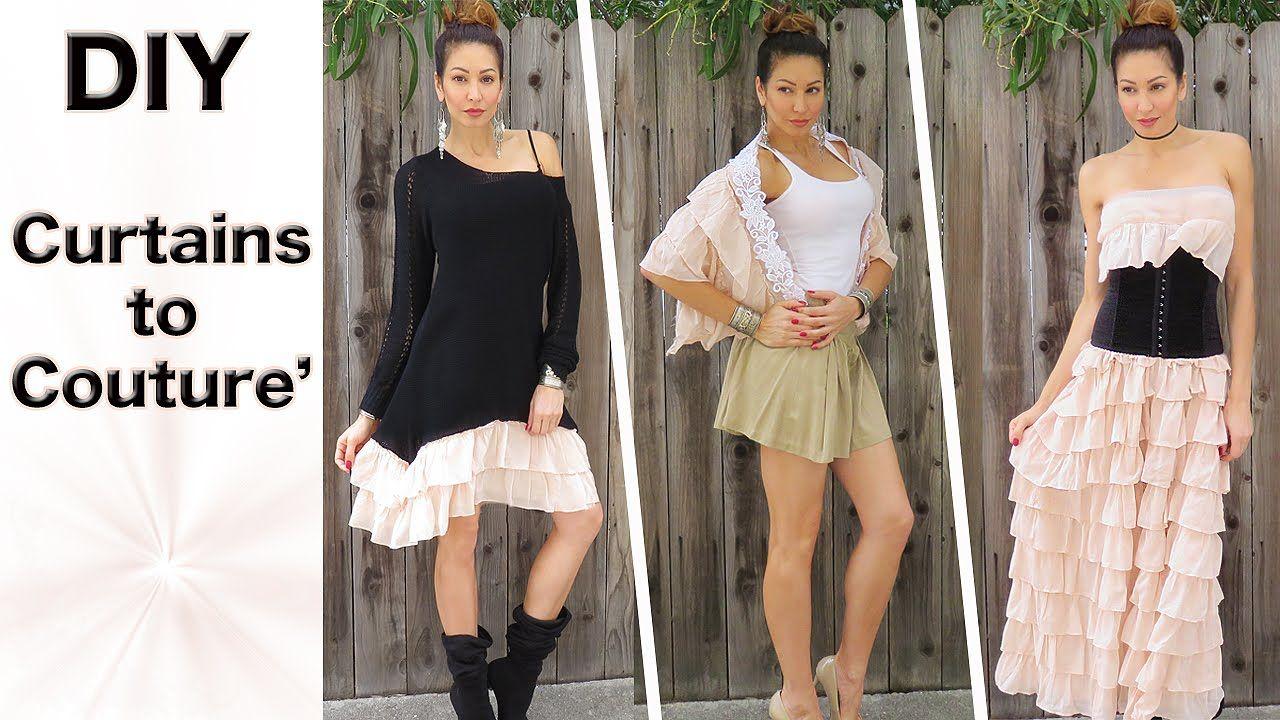 DIY Transform Curtains into Couture with This Clever Fashion Hack! Part 1===============================  Deze 3 creaties maak je met een mooi gordijn. Als je hierna kijk krijg je vast nog veel meer mooie ideeën