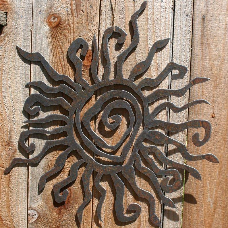 Rustic Sun Wall Decor 16 Recycled Steel Custom Sun Metal Etsy In 2021 Sun Wall Decor Metal Sun Wall Art Outdoor Metal Wall Art