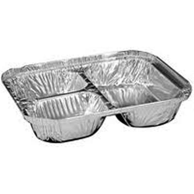 Oblong 3 Compartment Aluminum School Tray Case Of 500 Silver Flats Black Restaurant Tray