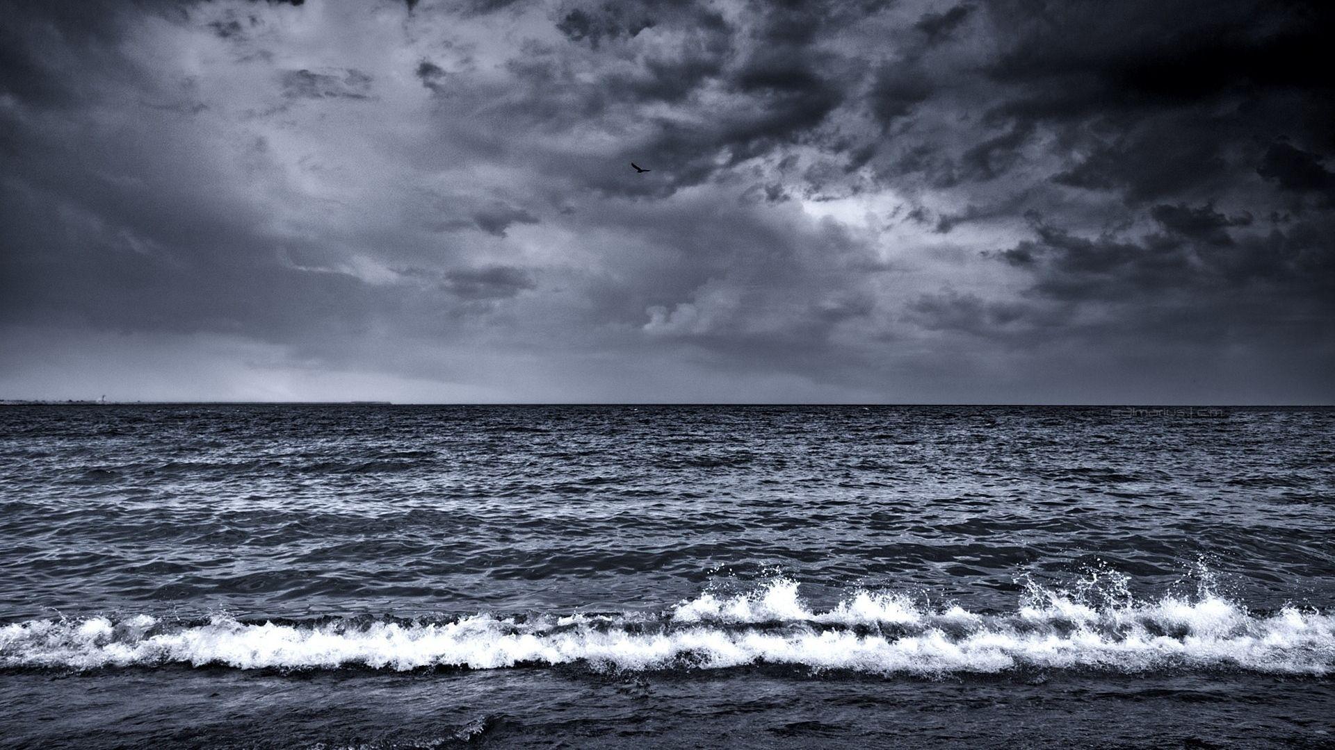 1920x1080 Wallpaper Sea Waves Surf Foam Black And White