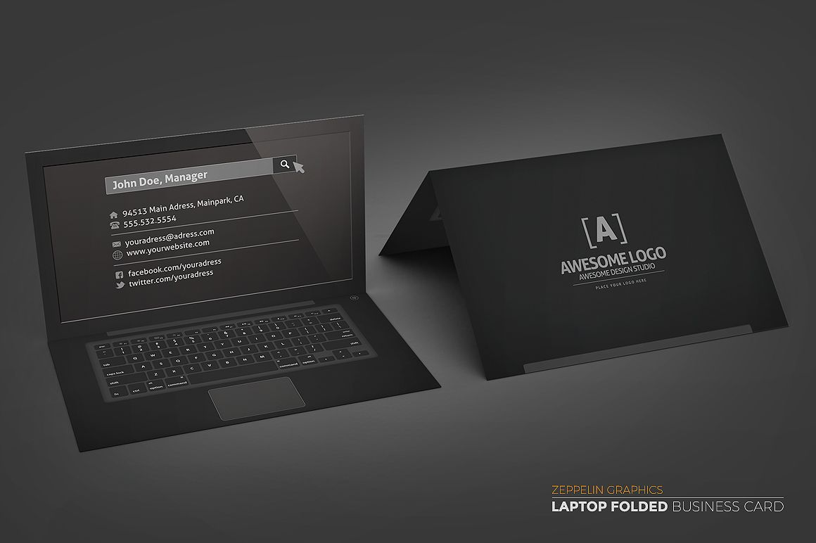 Laptop Business Card Black Edition Business Card Black Business Card Design Creative Folded Business Cards