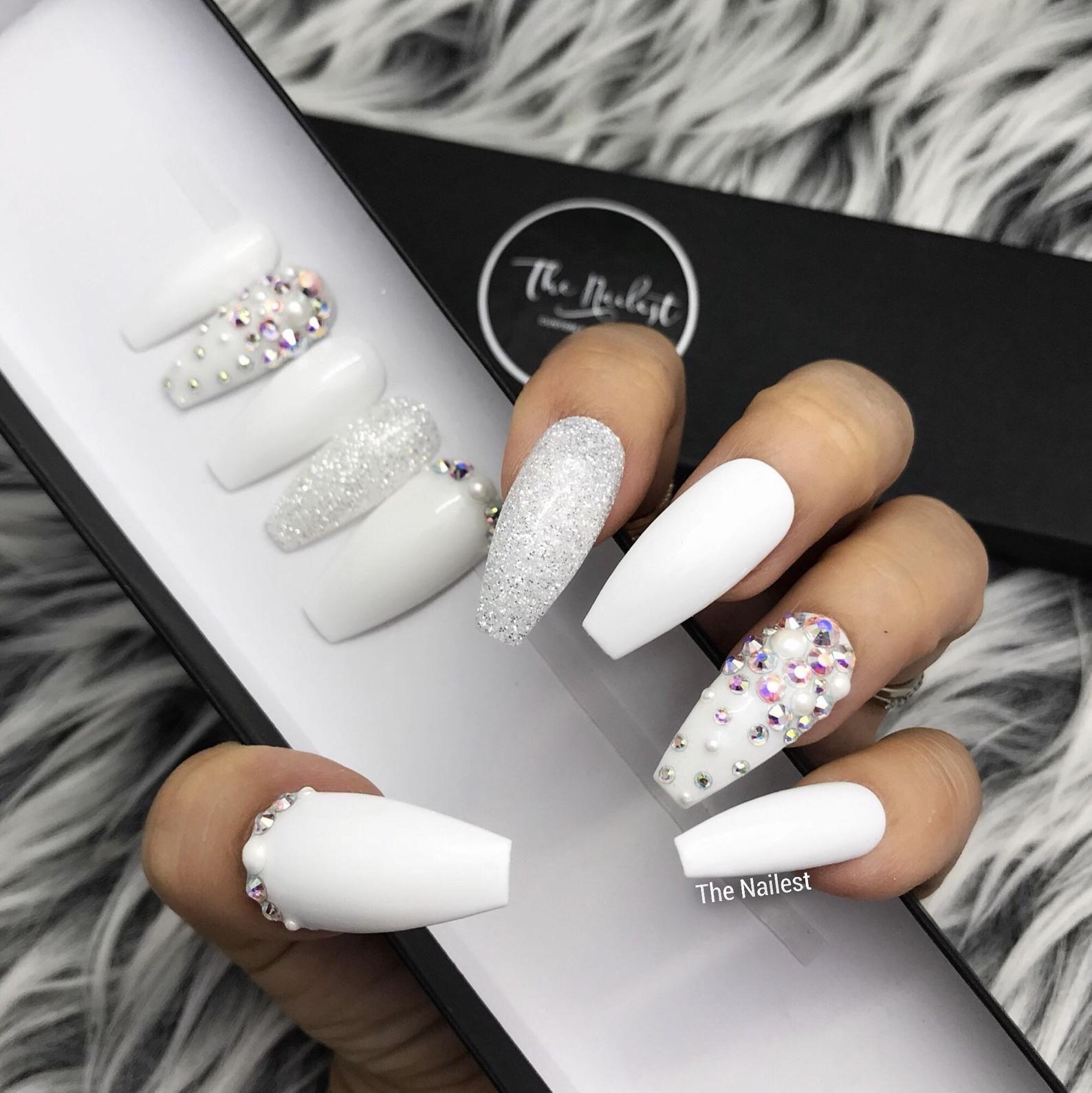 Glossy White Pearl Glitter Crystal Press On Nails Gothic Any Shape Fake Nails False Nails Glue On Nailes In 2020 Pearl Nails Prom Nails White Acrylic Nails