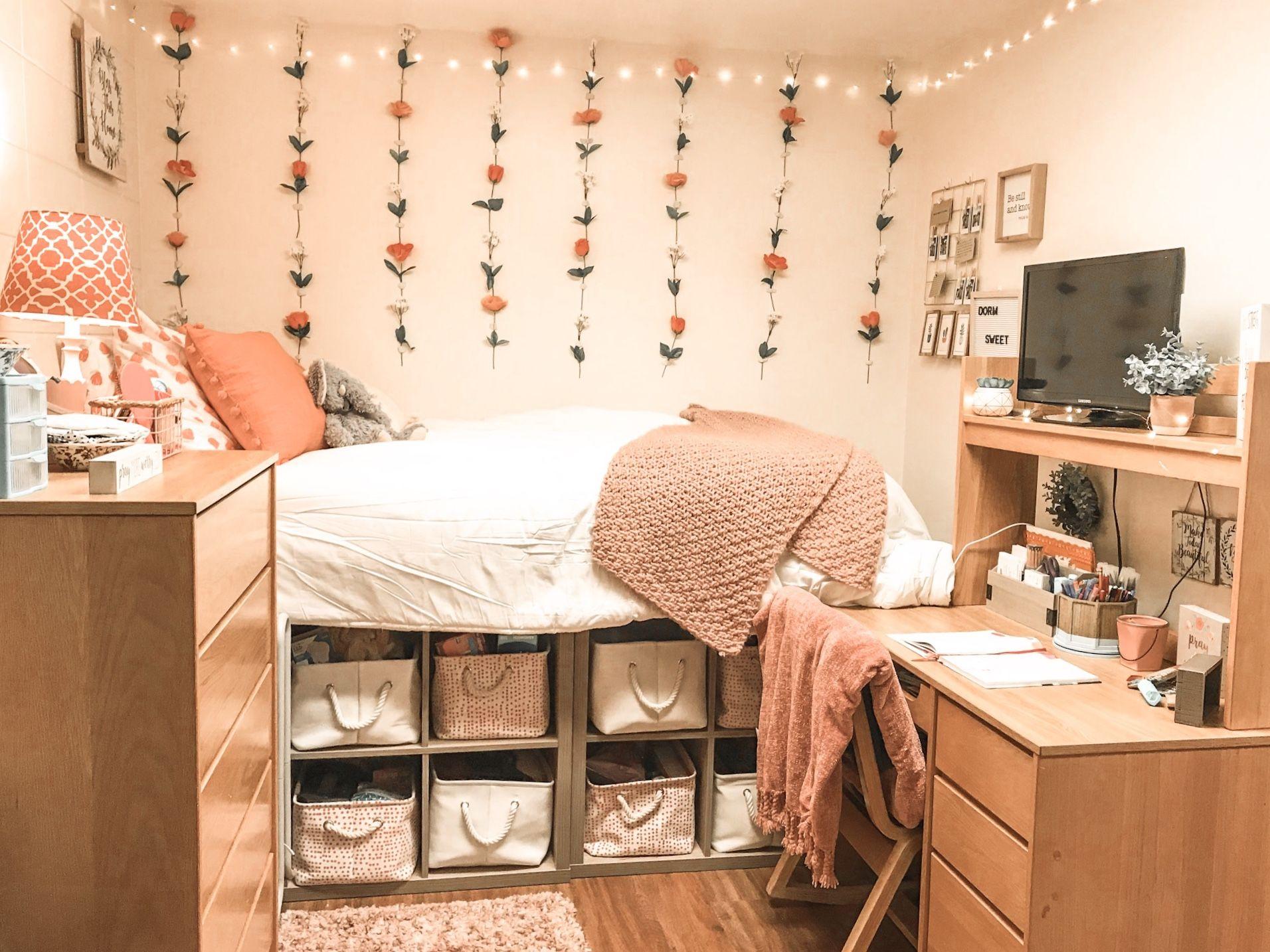 Peach Dorm Room College Bedroom Decor Classy Dorm Room College Dorm Room Decor