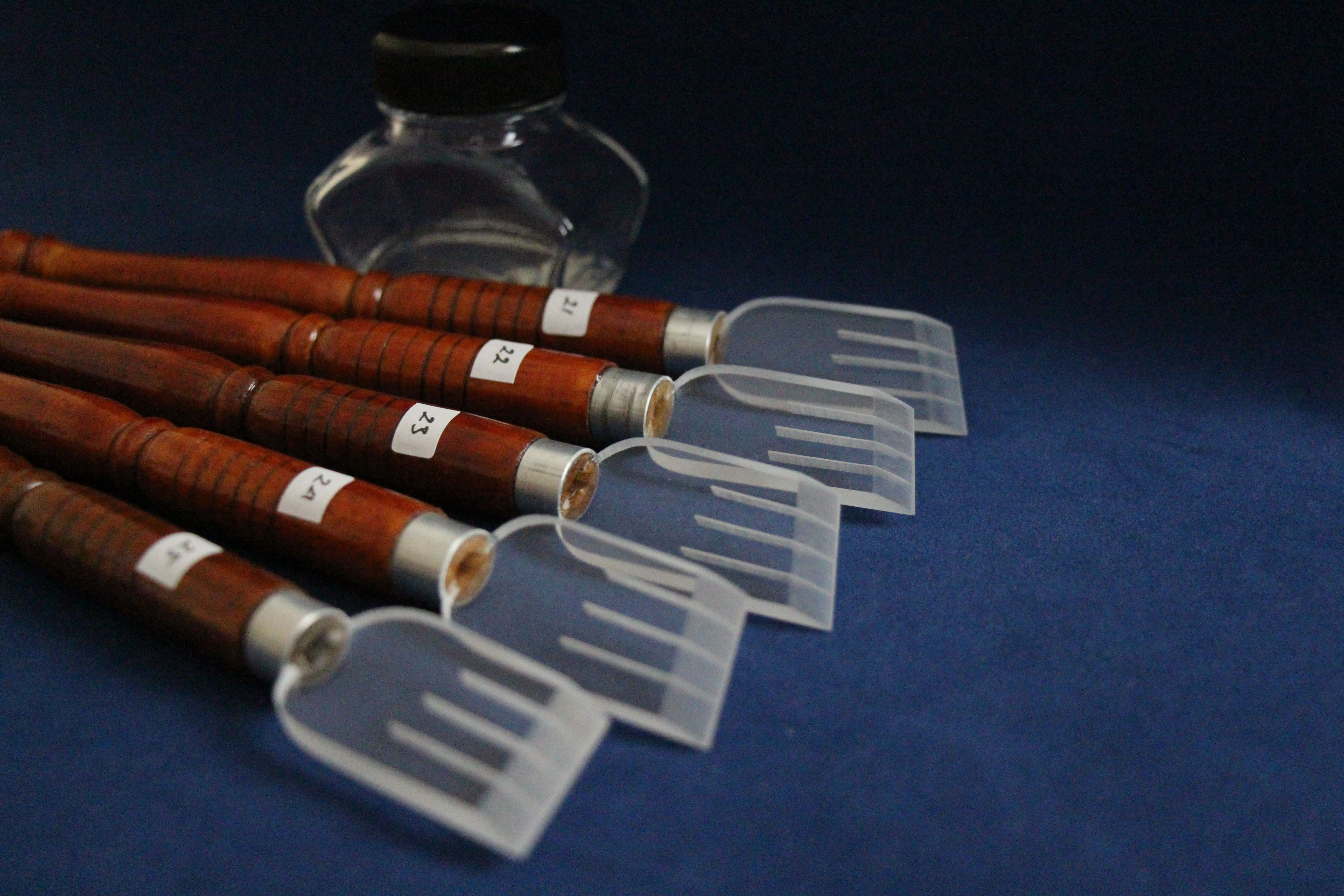 set of 5 Acrylic plastic qalam pen for Arabic Islamic calligraphy 21 to 25mm