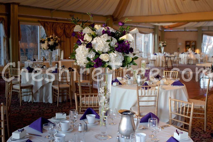 White And Purple Centerpiece Bethany Justin S Wedding Flowers Catlin Gardens Slate Hill