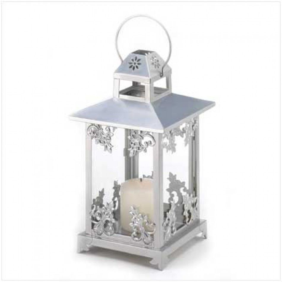 Silver Scrollwork Candle Lantern 39891 Wholesale Wedding Supplies Discount