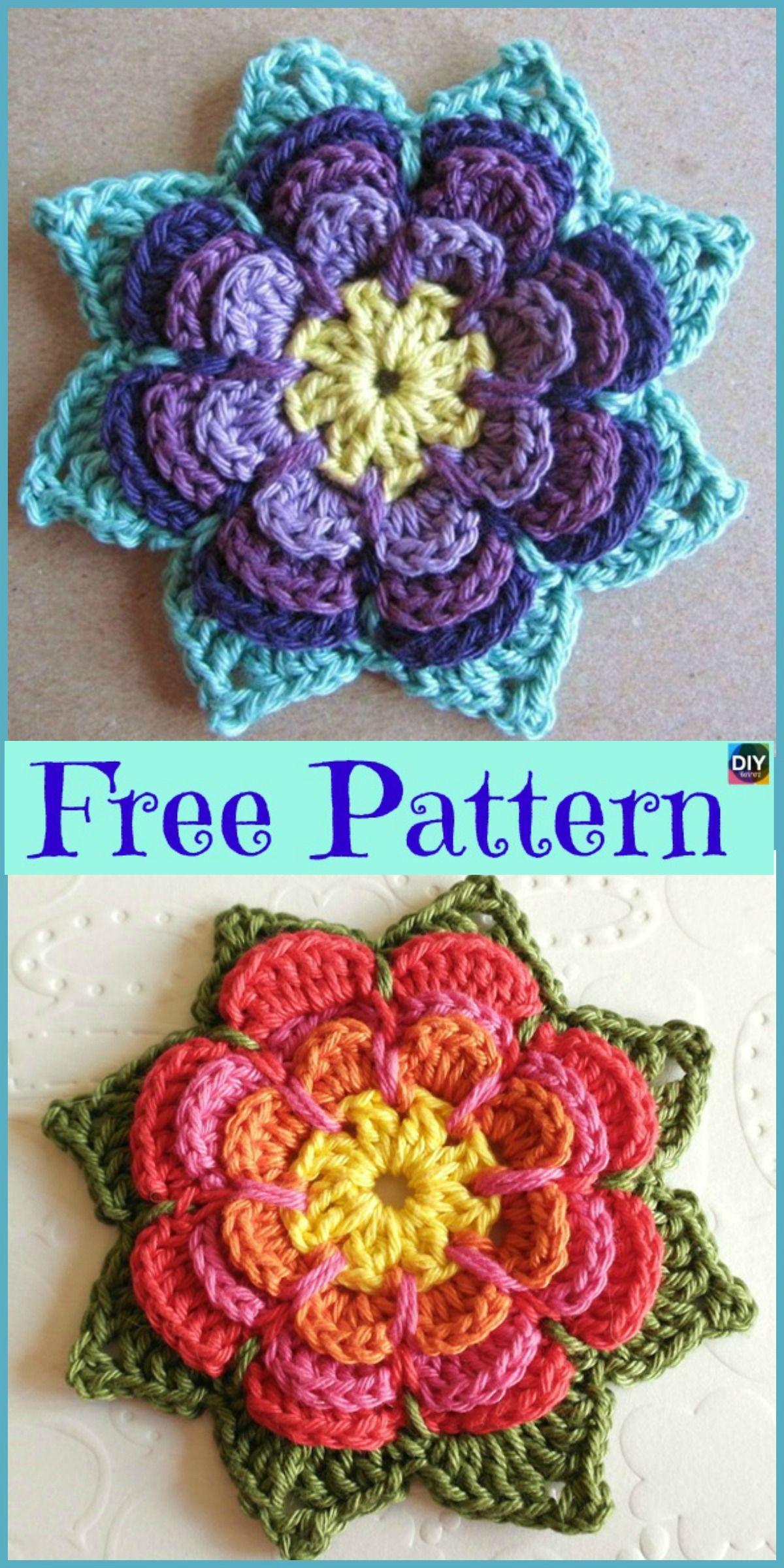 Crochet Beautiful Flower Free Pattern Crochet Knitting