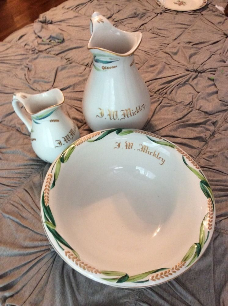 1800s Antique White Ironstone China Staffordshire Basin And 2 Pitchers Handpaint #Victorian