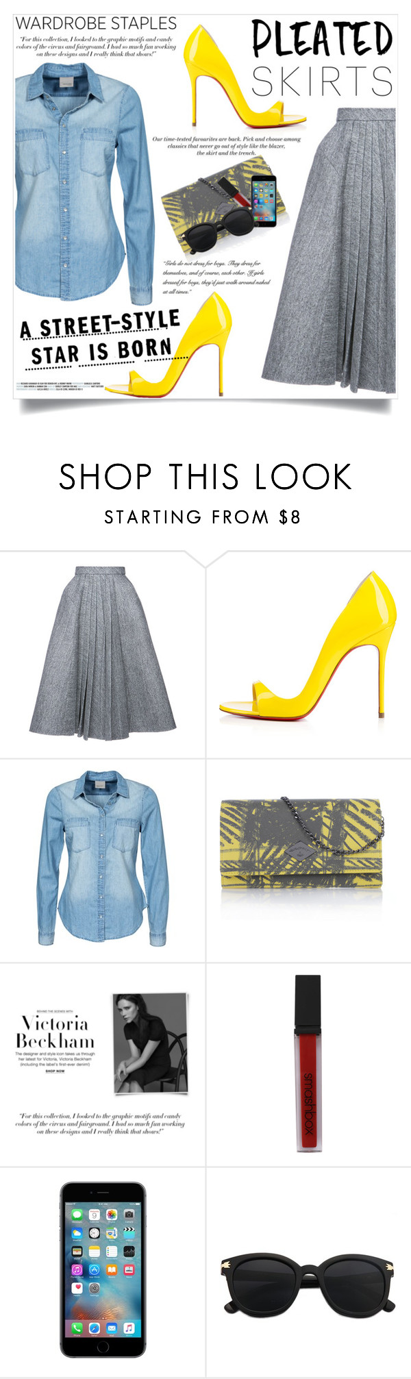 """""""Pleated Skirt"""" by natalie1523 on Polyvore featuring Dice Kayek, Christian Louboutin, Vero Moda, H&M, Vivienne Westwood, Victoria Beckham, Smashbox and pleatedskirts"""