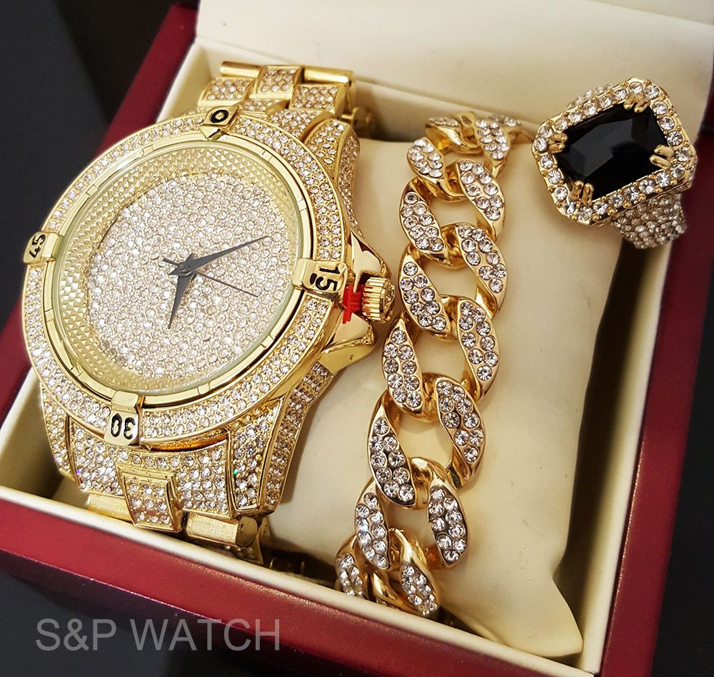Mens Hip Hop Iced Out Rapper Bling Gold Plated Watch & Bracelet Luxury Gift  Setus Sellerfeatures