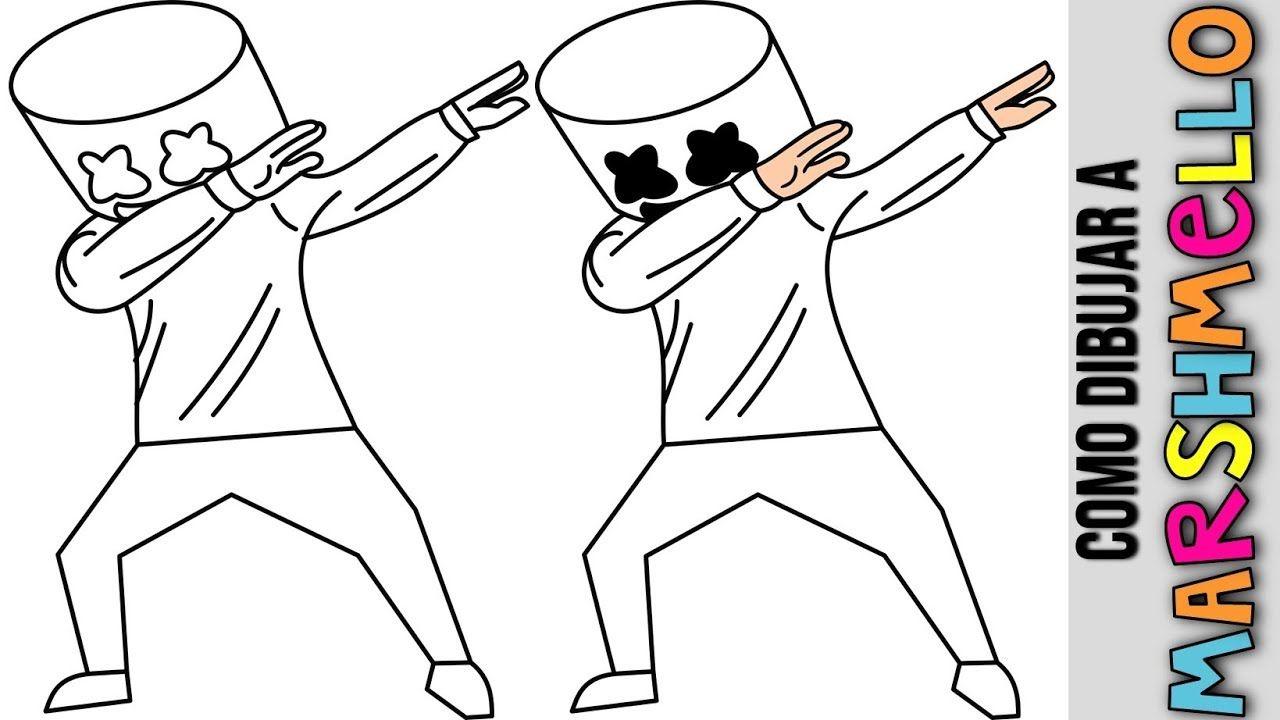 Marshmello Dabbing De Fortnite Como Dibujar A Marshmello De Fornite Dibujo Paso A Paso Dibujos De Marshmello Dibujos