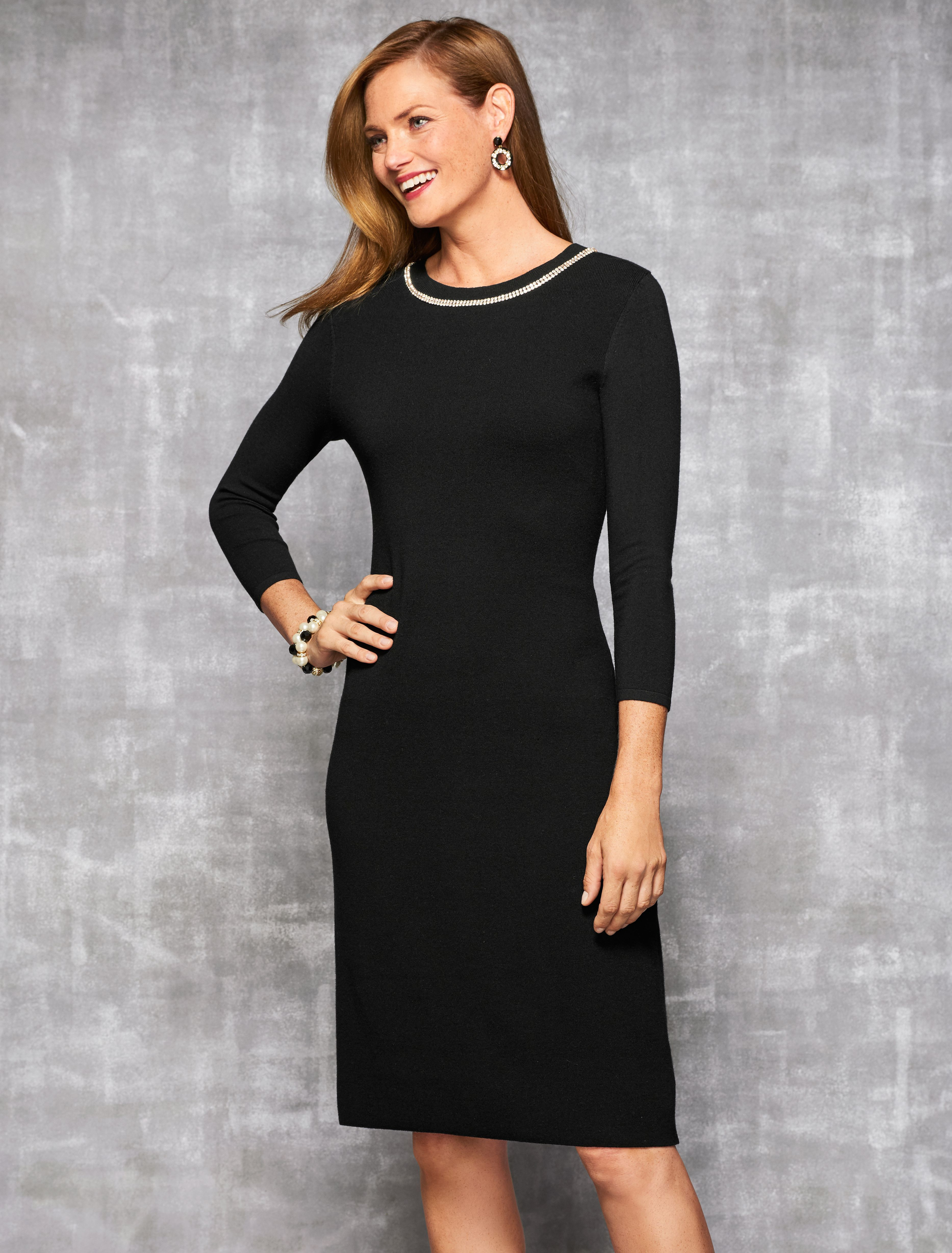 The soft comfort of a sweater in the sleek silhouette of a dress. This  classic little black sweater dress is elevated with a subtle diamanté trim cb1014c29