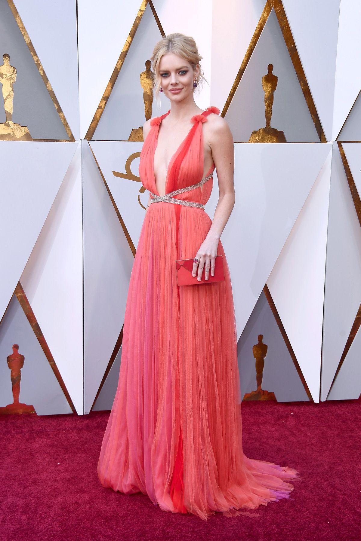Samara Weaving Dress Oscars 2018 Redcarpet Love Peach