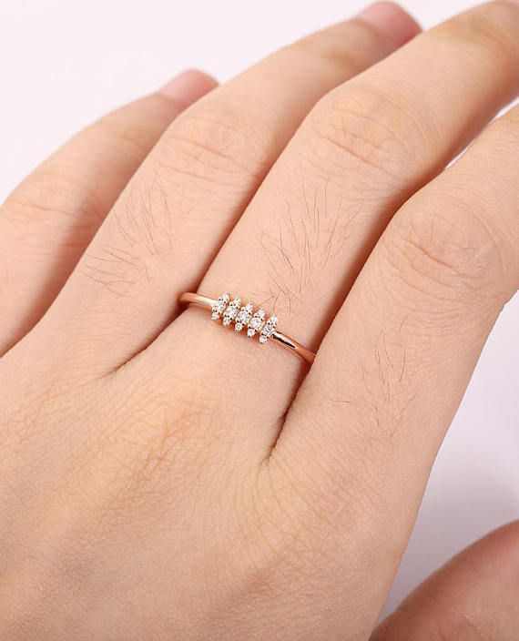 d5734cfc1 Unique Diamond Cluster ring Rose gold engagement ring Bridal Jewelry Dainty  engagement ring Delicate Stacking Promise Anniversary gift