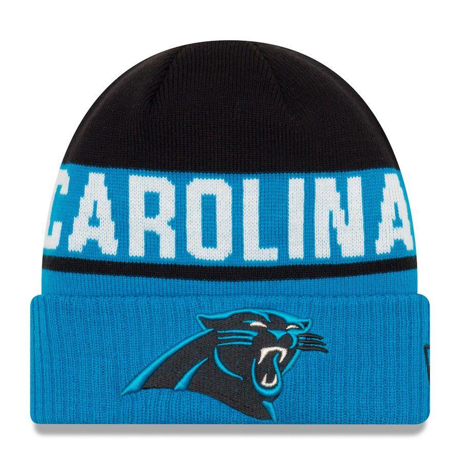 85ae992272c Men s Carolina Panthers New Era Black Blue Chilled Cuffed Knit Hat ...
