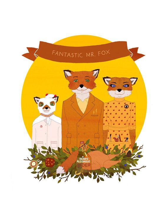 8 5 X 11 Print Fantastic Mr Fox By Thaikim On Etsy 17 00 Fantastic Mr Fox Fantastic Mr Fox Characters Fox Illustration