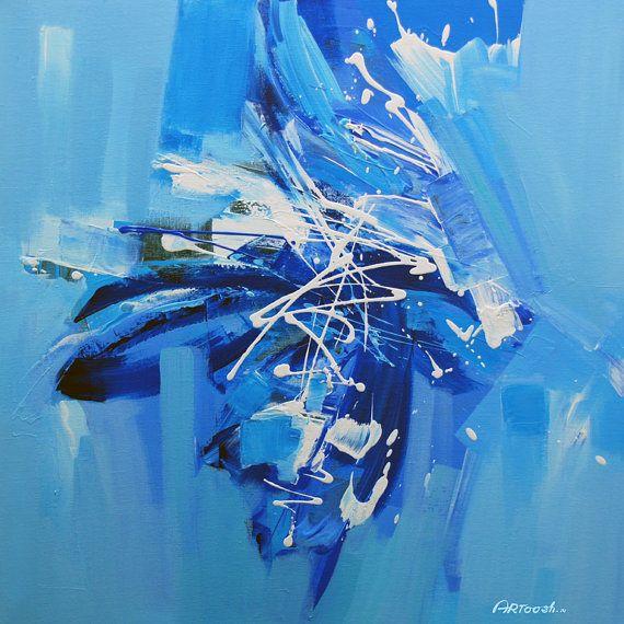 Peinture abstraite bleu noir gris blanc original for Peinture gris turquoise